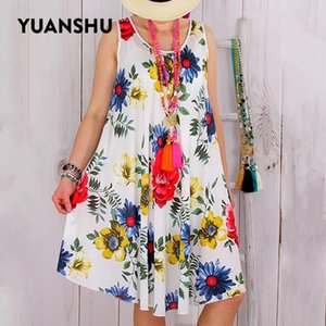 YUANSHU S-5XL Plus Size Summer Dress Women O Neck Sleeveless Loose Large Size Dresses Casual Women Streetwear Floral Print Dress