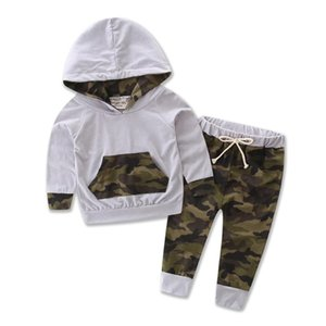 Children Clothing 2020 New Boy Spring Suit Kids Camouflage Long Sleeves Hooded Shirt Top with Long Pants Two-piece Baby Clothes