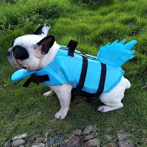 Jacket Pet Dog Life Vest Verão tubarão Design Vida Pet impermeável cão Roupa Dogs Swimwear animais Dragon Tail Swimming Suit #