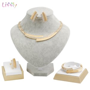 Liffly Brautschmuck Sets Mode Dubai Gold Schmuck Frauen Hochzeit Afrikanische Perlen Set Marke Halskette Schmuck