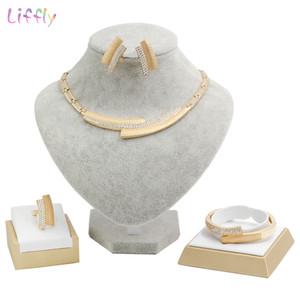 Liffly Bridal Jewelry Sets Fashion Dubai Gold Jewelry Women Wedding African  Set  Necklace Jewellery