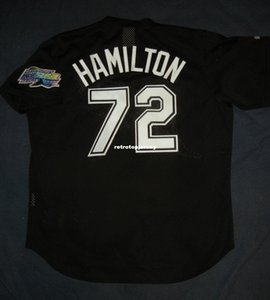 Cheap Retro # 72 JOSH HAMILTON Majestic TAMPA BAY DEVIL Black Batting Practice Jersey XL Mens cucita maglie da baseball