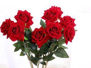 파티 홈 웨딩 신부 꽃다발을위한 녹색 잎 DIY 부케와 5PCS 살아있는 인공 장미 꽃 벨벳 레드 로즈