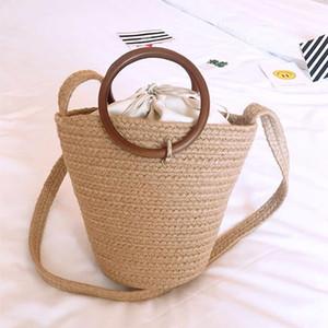 new wooden round handle linen shoulder portable Crossbody bucket female bag beach straw woven bag womens bags handbags