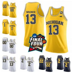 Custom NCAA Michigan Wolverines 13 Moritz Wagner 1 Charles Matthews 22 Duncan Robinson cosido 2018 Final Four College Basketball Jerseys