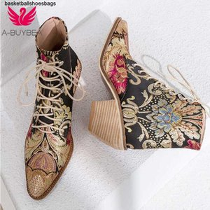 Heels Women Casual Stacked High Embroidery Flower Lace Up Boots Shoes Female Ladies Ankle Booties Silk Satin Footwear Boot MX200324
