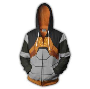 Moda Fina Hoodies do jogo Half-life 2 Zip completa Brasão Pullover Jacket Unisex Jumper camisola com capuz Jacket capuz Homens Mulheres