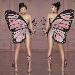V99 Sexy women pole dance dress belly dance stage costumes butterfly wings bodysuit diamonds siamese cosplay rhinestones jumpsuit party wear