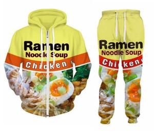 Куриный вкус рамен еда 3D все более печати костюмы на молнии толстовки карманы толстовка Битник повседневная Drawstring брюки спортивная одежда женщины мужчины