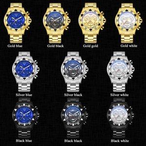 Dropshipping nueva Temeite hombres reloj cronógrafo de cuarzo de oro de negocios hombres de los relojes a prueba de agua Deporte Militar masculino de pulsera gratuito