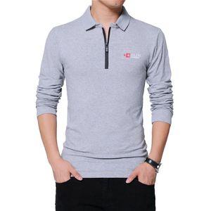 TFETTERS otoño para hombre cremallera de la manera del diseño del collar Hombres camiseta de algodón de manga larga de la manga del color sólido de negocios Hombres camiseta Top