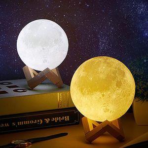 Led 3D magische Mond-Nachtlicht Moonlight Schreibtischlampe USB aufladbare 2 helle Farben für Hauptdekoration Valentinstag Kinder Geschenk WX9-1890