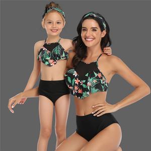 New Pai-filho Terno Swimwear Bikini Mulheres Mujer cintura Swimsuits alta Ruffle Biquinis natação para ternos Womens Tankinis Biquini banho