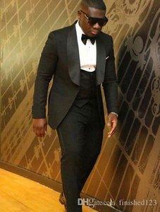 High Quality One Button Black Groom Tuxedos Shawl Lapel Groomsmen Best Man Suits Mens Wedding Suits (Jacket+Pants+Vest+Tie) NO:992