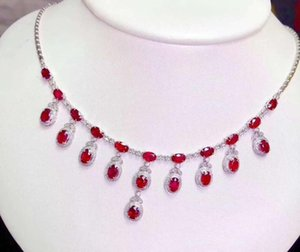 Natural Real Ruby necklace pendant S925 sterling silver Natural real ruby Pendant