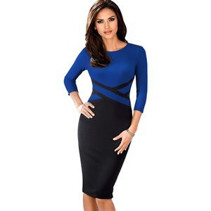 Nice-forever Vintage Elegante Contraste Color Patchwork Use to Work vestidos Business Party Office Bodycon Vestido B463