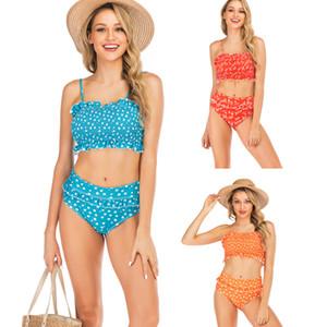 2019 Bikini donna sexy a vita alta con bordo di loto piegato Stampa Bikini nuoto, costumi da bagno flessibile, elegante, negozio online in vendita
