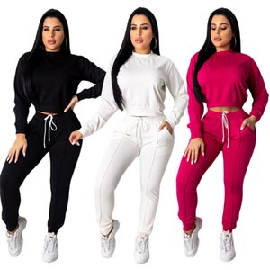 Два Piece Set Top и брюки Нижнее Tracksuit Женщины с длинным рукавом пуловер Drawstring штаны спортивный костюм Ensemble Femme 2 шт