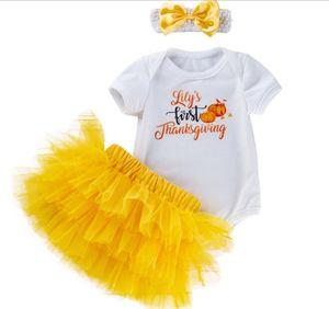 0-2 T Baby Girl Abbigliamento Halloween Pagliaccetto Stampa zucca + Gonna tutu gialla + Fascia manica corta Baby Girl Halloween Pagliaccetto Cosplay
