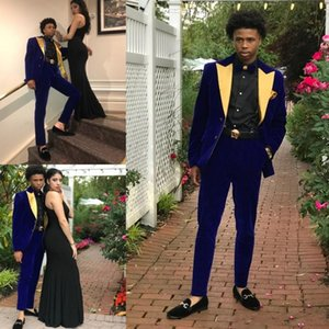 2019 Popular Couple Fashions Blue with Yellow Neck Informal Mens Tuxedos Groom Groomsmen Bestmen Wedding Suits Custom Made Two Pieces Suit