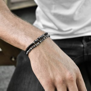 NAIQUBE 2pcs set Fashion Men Bracelet Stainless Steel Chain Stone Bead Bracelet For Men Jewelry Gift Classic Pulsera Hombre