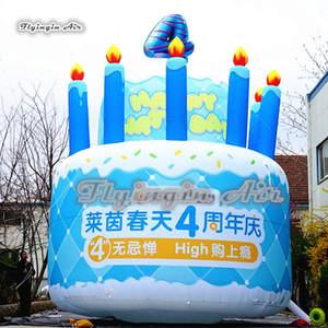 Bolo de aniversário inflável personalizado da explosão do modelo da celebração 3m / 5m do bolo da celebração gigante para a decoração da festa de aniversário