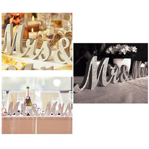 Vintage Tasarım İngilizce Mektuplar Mrmrs Ahşap Düğün Arka Plan Dekorasyon Glitter Altın Gümüş Mevcut Masa Centerpiece Decor 1 Set