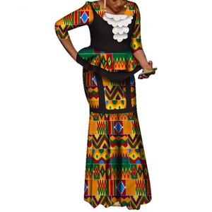 Africa Two Piece Set For Women Fashion Dashiki three quarter African Clothes Bazin Plus Size Lady Clothing for Party WY3737