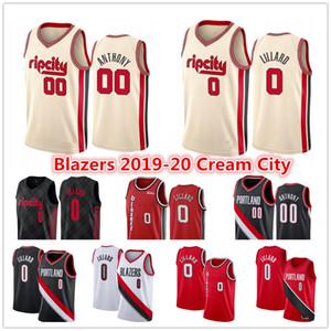 Damian Lillard 0 # 00 Melo Carmelo Anthony PortlandSenderoBlazers Jersey # 3 Cj C. J. McCollum Ciudad crema jerseys del baloncesto Edition