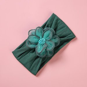 Fashion Tulle Fabric Baby Headband Big Chiffon Flower Nylon Headbands Girls Soft Turban Head Wrap Children Kids Hair Accessories