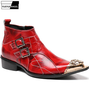 2019 New Fashion Cool Designer Style Men Genuine Leather Side Zipper Motorcycle Biker Shoes Male Buckle Ankle Boots Plus Size