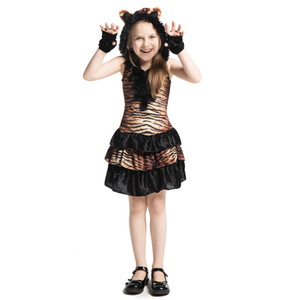Kızlar Sevimli Orman Tiger Hayvan Temalı Kaplan Çocuk Çocuk Süre Fantezi Elbise Cadılar Bayramı Partisi Karnaval Cosplay Kostüm