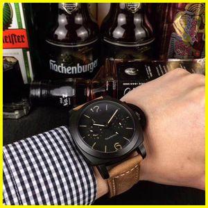 Panerai Mens Relógio de luxo PAM00580 confortável pulseira de borracha Movimento Quartz 42 milímetros bitime Black Dial Sports Watch