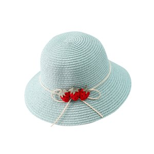 Summer Baby Flower Bucket Hat Straw Hat With Strawberries Fashion Children Pure Color Sun Visor Uv Protection Straw Hat Panama