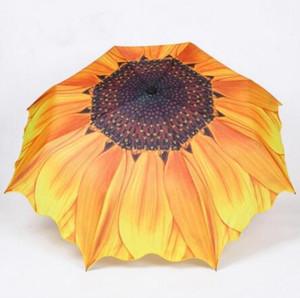 оптовые 10pcs Мода подсолнечника Pattern Три складной зонтик Женщины Мужчины ВС / дождь Большой пляж Зонтики Зонтик