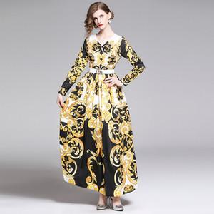 Платья с принтом в европейском и американском стиле 2009 Новое пятно с V-образным вырезом и длинными рукавами