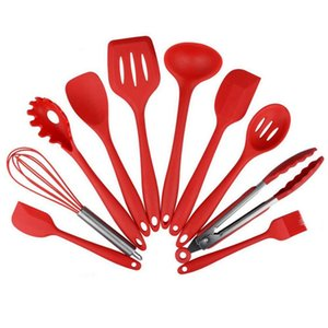 10pcs lot Kitchen Silicone Non-stick Cooking Spoon Spatula Ladle Egg Beaters Utensils Dinnerware Set Cooking Tools Accessories Supplies