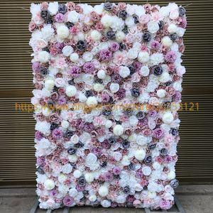 Fundo 3D Do Casamento Da Parede Da Flor Artificial Nova Dahlia Austin Rose Gramado Pilar Falso Flor Corredor Placa Estrada Chumbo Casa