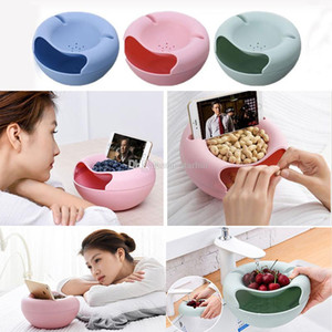 New Creative Fruit Plate Multi Functional Small Double Layer Fruit Dish Snack Plates Storage Box Trash Can Phone Holder Lazy Plate WX9-259