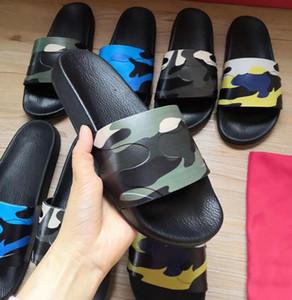 Designer uomini Slipper Moda Camouflage gomma Slides 5 colori Scarpe Donna piatto diapositive sandali di buona qualità di marca di estate Slipper con la scatola