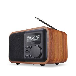 nouveaux multimédia en bois haut-parleurs microphone mains libres Bluetooth iBox D90 avec lecteur MP3 réveil radio FM TF / USB rétro boîte en bois s