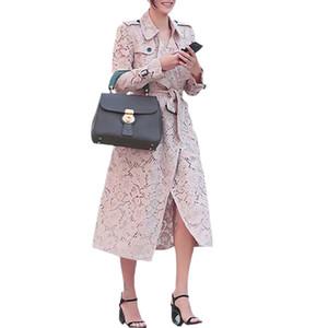 2019 otoño moda mujer ropa cuello vuelto epaulette cinturón autoajustable bolsillos abotonados mujer de encaje rosa gabardina
