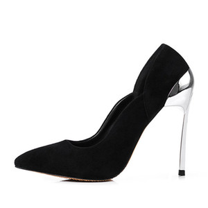 Seksi Sivri Burun Metal Yüksek Topuk Pompaları Karışık Renk Patchwork Kadınlar Elbise Stilettos Ayakkabı Zapatos Tacon Mujer Üzerinde Kayma Pompaları