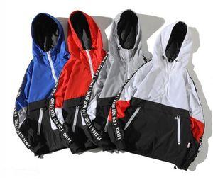 Una Reta Kapşonlu Ceketler Erkekler Yeni Patchwork Renk Bloğu Kazak Ceket Moda Eşofman Ceket Erkekler Streetwear Ceket Erkekler