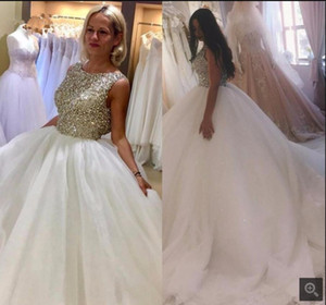 Luxury Crystal Beaded Ball Gown Wedding Dresses Princess Puffy Tulle sheer back sexy Bridal Gowns Wedding Gown Robe de Mariage
