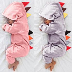 Dinosaurier-Baby-Spielanzug Baumwollsäuglings Boy Jumpsuits Langarm Neugeborenes Mädchen mit Kapuze Bodysuits Designer Kleinkind-Kleidung Baby-Bekleidung DW4508