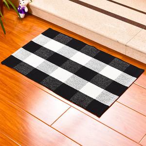 Las alfombras de algodón a cuadros Felpudo Alfombras tartán Buffalo a cuadros en capas puerta Mats al aire libre para porche frontal Entrada de forma Cocina Baño 60 * 90cm