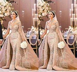 Арабский Дубай с длинным рукавом свадебное платье великолепный с высоким вырезом 2019 кружева аппликации русалка съемный поезд свадебное платье vestido de noiva