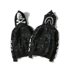 وصول بابي رجالي جديد المصمم هوديس رجال القرش الطباعة الأسود البلوز أزياء المصمم عالية الجودة فضفاض معطف M-2XL