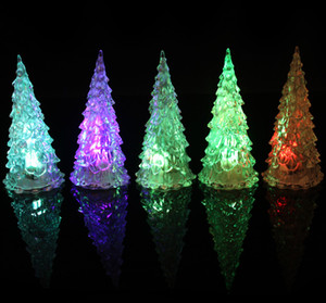 Acrylic Christmas Tree Children's Light-emitting Toys LED Seven-color Crystal Flash Night Light Christmas Gifts Hot Selling